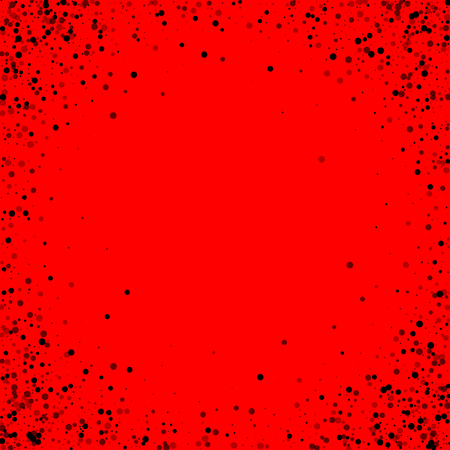 Scattered dense balck dots. Dark points dispersion on red background. Bold grey spots dispersing overlay template. Alive vector illustration.