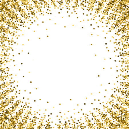 Gold glitter luxury sparkling confetti. Scattered small gold particles on white background. Artistic festive overlay template. Delightful vector illustration. Banque d'images - 125050775