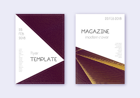 Triangle cover design template set. Gold abstract lines on maroon background. Impressive cover design. Enchanting catalog, poster, book template etc.
