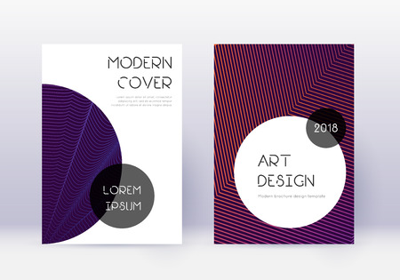 Trendy cover design template set. Violet abstract lines on dark background. Grand cover design. Sublime catalog, poster, book template etc.