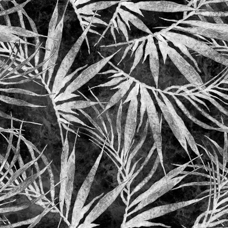 Tropical seamless pattern. Watercolor chaotic palm leaves, japanese bamboo. Black and white exotic swimwear design. Summer tropic repeated print. Awesome textile illustration.