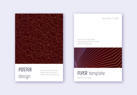 Minimalistic cover design template set. Orange abstract lines on wine red background. Elegant cover design. Grand catalog, poster, book template etc.  イラスト・ベクター素材