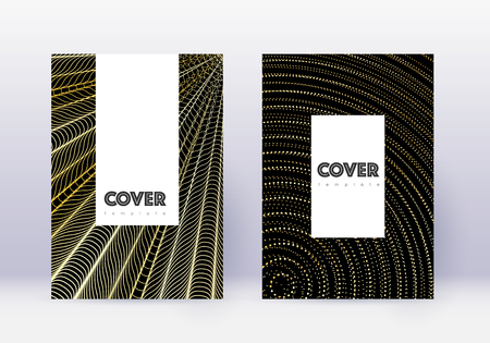 Hipster cover design template set. Gold abstract lines on black background. Charming cover design. Bewitching catalog, poster, book template etc. 일러스트