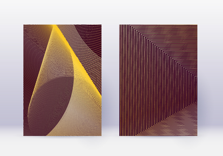 Cover design template set. Abstract lines modern brochure layout. Gold vibrant halftone gradients on maroon background. Amazing brochure, catalog, poster, book etc.  イラスト・ベクター素材