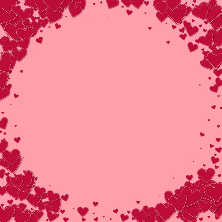 Red heart love confettis. Valentines day vignette perfect background. Falling stitched paper hearts confetti on pink background. Extraordinary vector illustration.  イラスト・ベクター素材