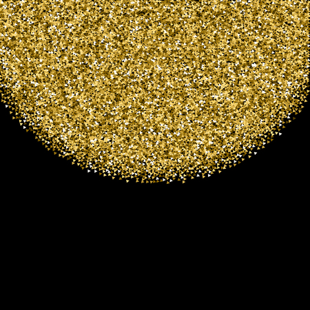 Gold triangles glitter luxury sparkling confetti. Scattered small gold particles on black background. Amusing festive overlay template. Optimal vector illustration.