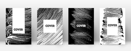 Cover page design template. Hipster brochure layout. Breathtaking trendy abstract cover page. Black and white grunge texture background. Favorable poster.  イラスト・ベクター素材