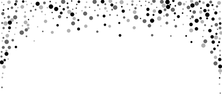 Scattered random black dots. Dark points dispersion on white background. Bold grey spots dispersing overlay template. Outstanding vector illustration.  イラスト・ベクター素材
