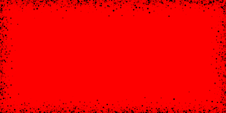 Scattered dense balck dots. Dark points dispersion on red background. Breathtaking grey spots dispersing overlay template. Authentic vector illustration.