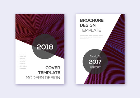 Modern cover design template set. Violet abstract lines on maroon background. Fair cover design. Dazzling catalog, poster, book template etc.