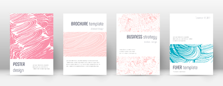 Cover page design template. Minimalistic brochure layout. Classy trendy abstract cover page. Pink and blue grunge texture background. Uncommon poster.
