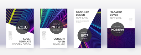 Modern brochure design template set. Rainbow abstract lines on dark blue background. Beauteous brochure design. Decent catalog, poster, book template etc.
