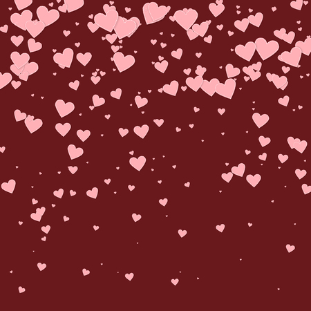 Pink heart love confettis. Valentines day gradient splendid background. Falling stitched paper hearts confetti on maroon background. Exotic vector illustration. Illustration