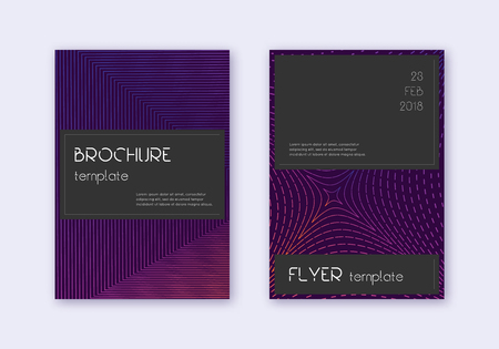 Black cover design template set. Violet abstract lines on dark background. Alive cover design. Ideal catalog, poster, book template etc. Illustration