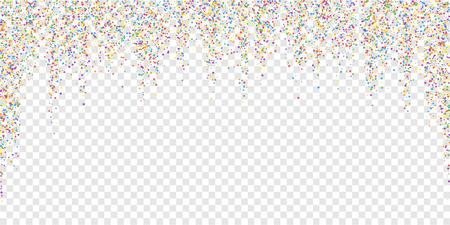 Festive confetti. Celebration stars. Colorful confetti on transparent background. Dazzling festive overlay template. Attractive vector illustration.