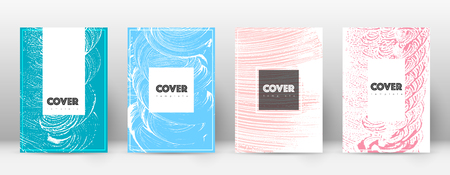 Cover page design template. Hipster brochure layout. Breathtaking trendy abstract cover page. Pink and blue grunge texture background. Tempting poster.