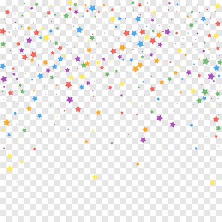 Festive confetti. Celebration stars. Joyous stars on transparent background. Eminent festive overlay template. Exotic vector illustration.