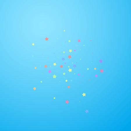 Festive confetti. Celebration stars. Colorful stars random on blue sky background. Brilliant festive overlay template. Ravishing vector illustration. Ilustração