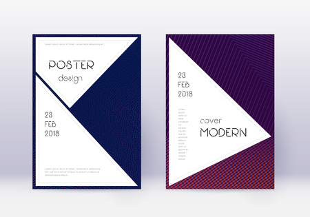 Stylish cover design template set. Violet abstract lines on dark background. Fascinating cover design. Incredible catalog, poster, book template etc. Çizim