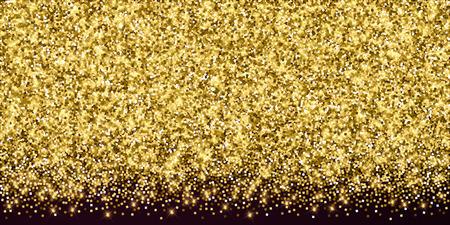 Confeti brillante de lujo dorado brillante. Pequeñas partículas de oro dispersas sobre fondo rojo granate. Plantilla de superposición festiva seductora. Ilustración de vector clásico. Ilustración de vector