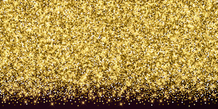 Sparkling gold luxury sparkling confetti. Scattered small gold particles on red maroon background. Alluring festive overlay template. Classic vector illustration. Vettoriali