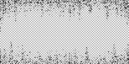 Scattered dense balck dots. Dark points dispersion on transparent background. Bold grey spots dispersing overlay template. Ravishing vector illustration.