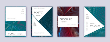 Stylish brochure design template set. Red abstract lines on white blue background. Bewitching brochure design. Ecstatic catalog, poster, book template etc.