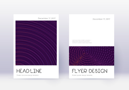 Minimal cover design template set. Violet abstract lines on dark background. Dramatic cover design. Interesting catalog, poster, book template etc.