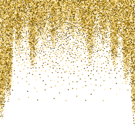 Gold triangles glitter luxury sparkling confetti. Scattered small gold particles on white background. Admirable festive overlay template. Stylish vector illustration. Ilustrace