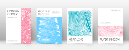 Cover page design template. Minimal brochure layout. Charming trendy abstract cover page. Pink and blue grunge texture background. Cute poster.