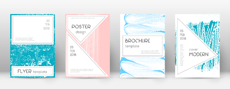 Cover page design template. Stylish brochure layout. Charming trendy abstract cover page. Pink and blue grunge texture background. Beauteous poster.