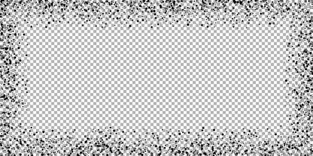 Scattered dense balck dots. Dark points dispersion on transparent background. Breathtaking grey spots dispersing overlay template. Amusing vector illustration. Ilustrace