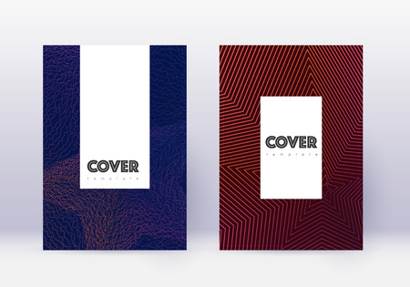 Hipster cover design template set. Violet abstract lines on dark background. Comely cover design. Authentic catalog, poster, book template etc. Ilustrace