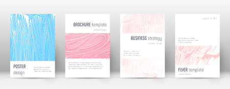 Cover page design template. Minimalistic brochure layout. Classy trendy abstract cover page. Pink and blue grunge texture background. Vibrant poster.