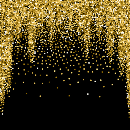 Gold glitter luxury sparkling confetti. Scattered small gold particles on black background. Admirable festive overlay template. Perfect vector illustration.