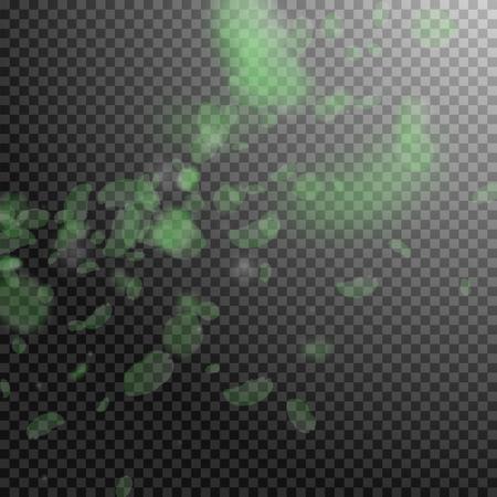 Green flower petals falling down. Original romantic flowers corner. Flying petal on transparent square background. Love, romance concept. Alive wedding invitation. Ilustração