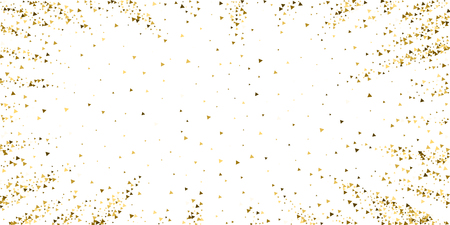 Gold triangles luxury sparkling confetti. Scattered small gold particles on white background. Charming festive overlay template. Bewitching vector illustration. 일러스트