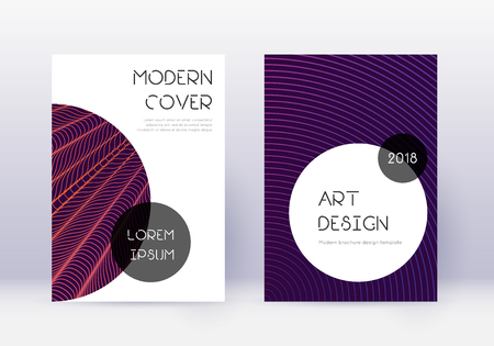 Trendy cover design template set. Violet abstract lines on dark background. Great cover design. Beautiful catalog, poster, book template etc. Ilustração