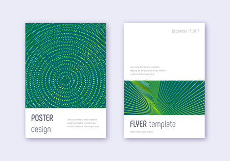 Minimalistic cover design template set. Green abstract lines on dark background. Ecstatic cover design. Impressive catalog, poster, book template etc.