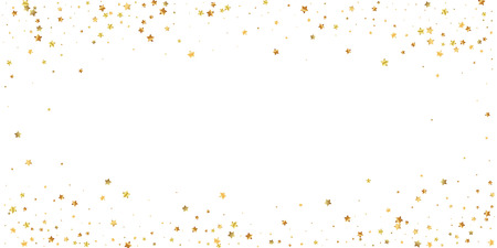 Gold stars random luxury sparkling confetti. Scattered small gold particles on white background. Extraordinary festive overlay template. Enchanting vector illustration.