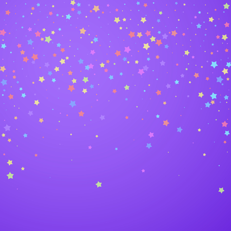Festive confetti. Celebration stars. Colorful stars random on bright purple background. Eminent festive overlay template. Dazzling vector illustration. Banque d'images - 124794911