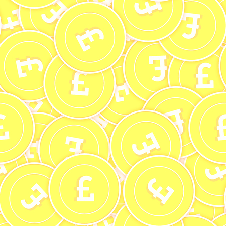 British pound gold coins seamless pattern. Attractive scattered yellow GBP coins. Success concept. United Kingdom money pattern. Coin vector illustration.
