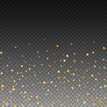 Sparse gold confetti luxury sparkling confetti. Scattered small gold particles on transparent background. Amazing festive overlay template. Stunning vector illustration.