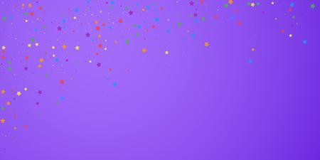 Festive confetti. Celebration stars. Joyous stars on bright purple background. Delicate festive overlay template. Cool vector illustration. Banque d'images - 124783058