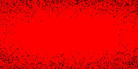 Scattered dense balck dots. Dark points dispersion on red background. Breathtaking grey spots dispersing overlay template. Noteworthy vector illustration.
