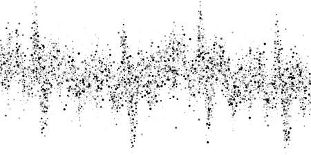 Scattered dense balck dots. Dark points dispersion on white background. Bold grey spots dispersing overlay template. Memorable vector illustration.