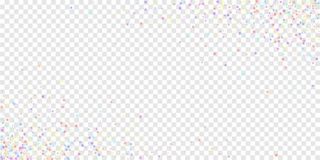 Festive confetti. Celebration stars. Colorful stars on transparent background. Creative festive overlay template. Incredible vector illustration.