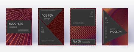 Black brochure design template set. Orange abstract lines on wine red background. Actual brochure design. Resplendent catalog, poster, book template etc.