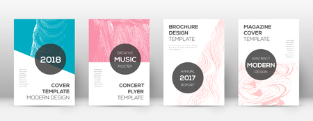 Cover page design template. Modern brochure layout. Cool trendy abstract cover page. Pink and blue grunge texture background. Stunning poster.