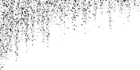 Scattered dense balck dots. Dark points dispersion on white background. Bold grey spots dispersing overlay template. Stylish vector illustration. 矢量图片